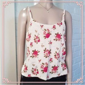 Forever 21 Low Back Pink Floral Tank Top knit F21